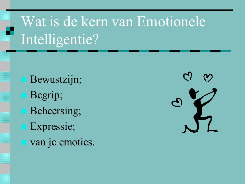 Wat is de kern van Emotionele Intelligentie?  Bewustzijn;  Begrip;  Beheersing;  Expressie;  van je emoties.