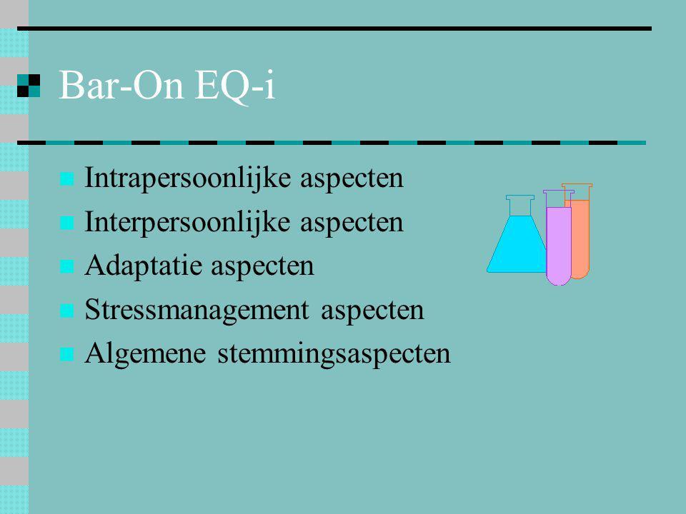 Bar-On EQ-i  Intrapersoonlijke aspecten  Interpersoonlijke aspecten  Adaptatie aspecten  Stressmanagement aspecten  Algemene stemmingsaspecten