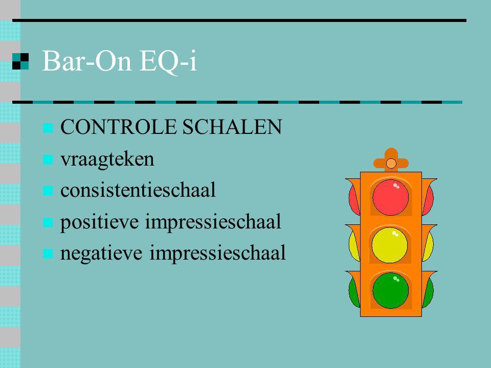 Bar-On EQ-i  CONTROLE SCHALEN  vraagteken  consistentieschaal  positieve impressieschaal  negatieve impressieschaal