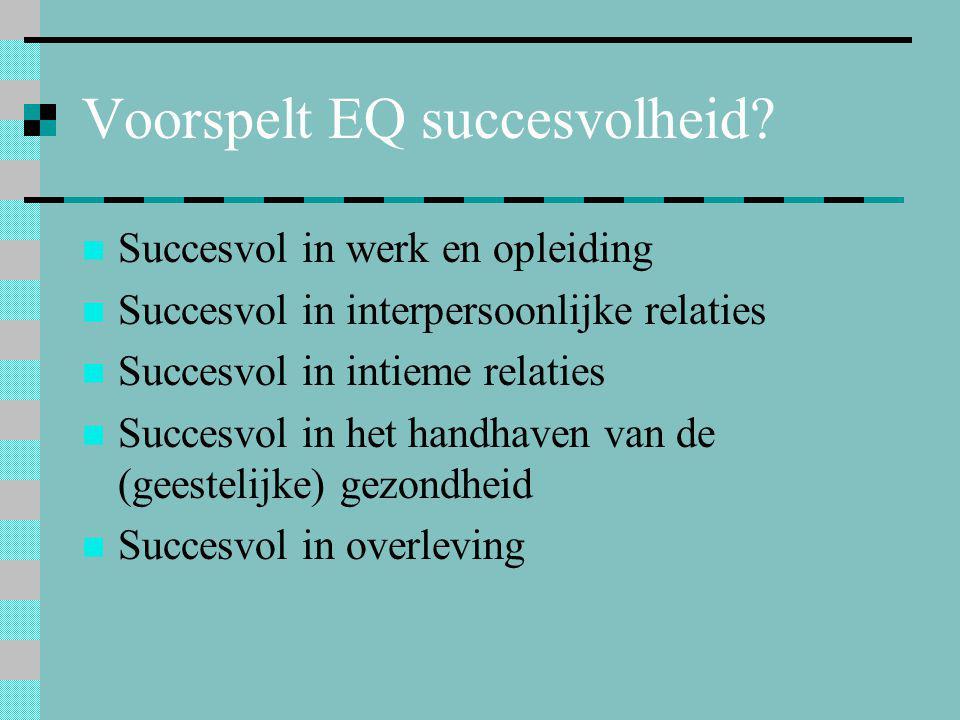 Voorspelt EQ succesvolheid?  Succesvol in werk en opleiding  Succesvol in interpersoonlijke relaties  Succesvol in intieme relaties  Succesvol in