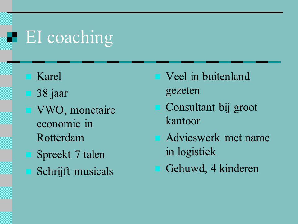 EI coaching  Karel  38 jaar  VWO, monetaire economie in Rotterdam  Spreekt 7 talen  Schrijft musicals  Veel in buitenland gezeten  Consultant b