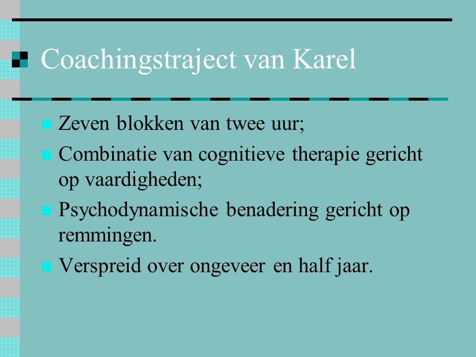 Coachingstraject van Karel  Zeven blokken van twee uur;  Combinatie van cognitieve therapie gericht op vaardigheden;  Psychodynamische benadering g