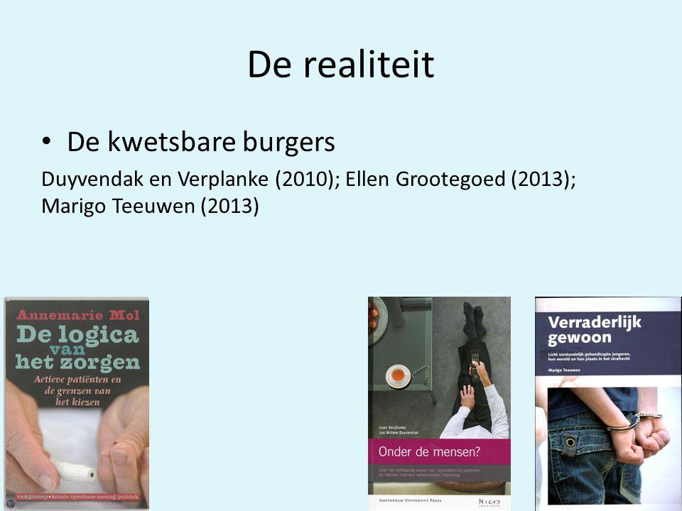 De realiteit • De kwetsbare burgers Duyvendak en Verplanke (2010); Ellen Grootegoed (2013); Marigo Teeuwen (2013)