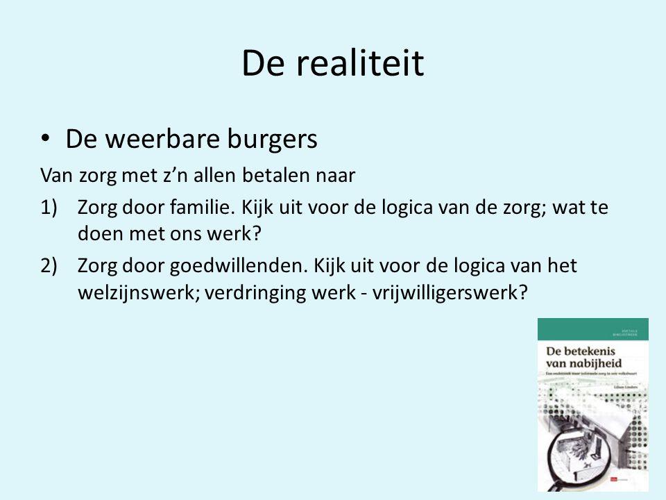 De realiteit • De weerbare burgers Van zorg met z'n allen betalen naar 1)Zorg door familie.