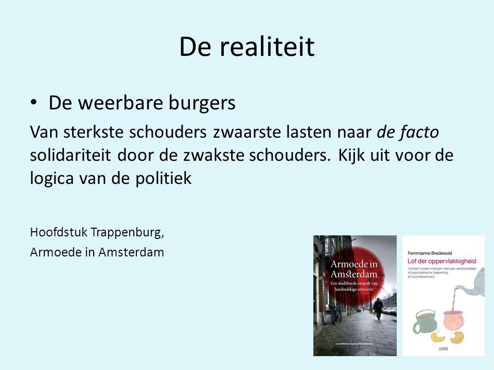 De realiteit • De weerbare burgers Van sterkste schouders zwaarste lasten naar de facto solidariteit door de zwakste schouders.