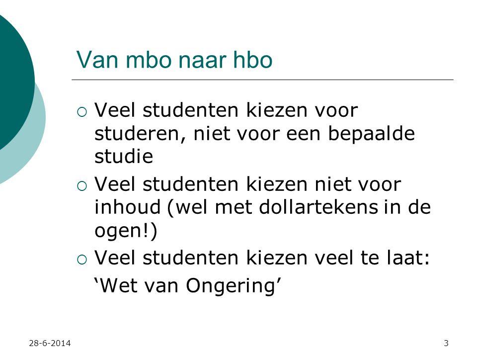 28-6-20144 Van mbo naar hbo Wet van Ongering:  Studenten die tijdig het vervolg van hun (studie-)loopbaan kiezen (werk of studie), hebben een grotere kans die keuze tot een succes te maken.