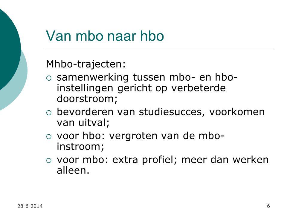 28-6-20147 Van mbo naar hbo Ontwikkelingen in het mbo:  Niveau 1 & 2:funderend beroepsonderwijs  Niveau 3 & 4:middelbaar beroepsonderwijs 'Mbo–nieuwe stijl' profileert zich op meer dan alleen werken; van niveau 4 studeert meer dan 60% door.