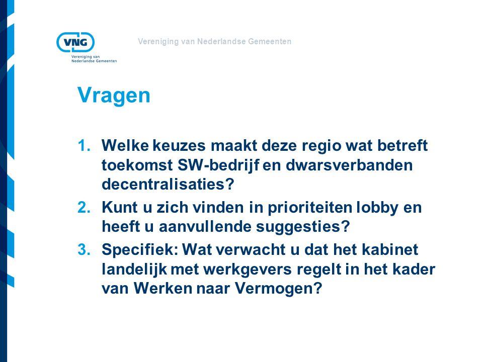 Vereniging van Nederlandse Gemeenten Vragen 1.Welke keuzes maakt deze regio wat betreft toekomst SW-bedrijf en dwarsverbanden decentralisaties.