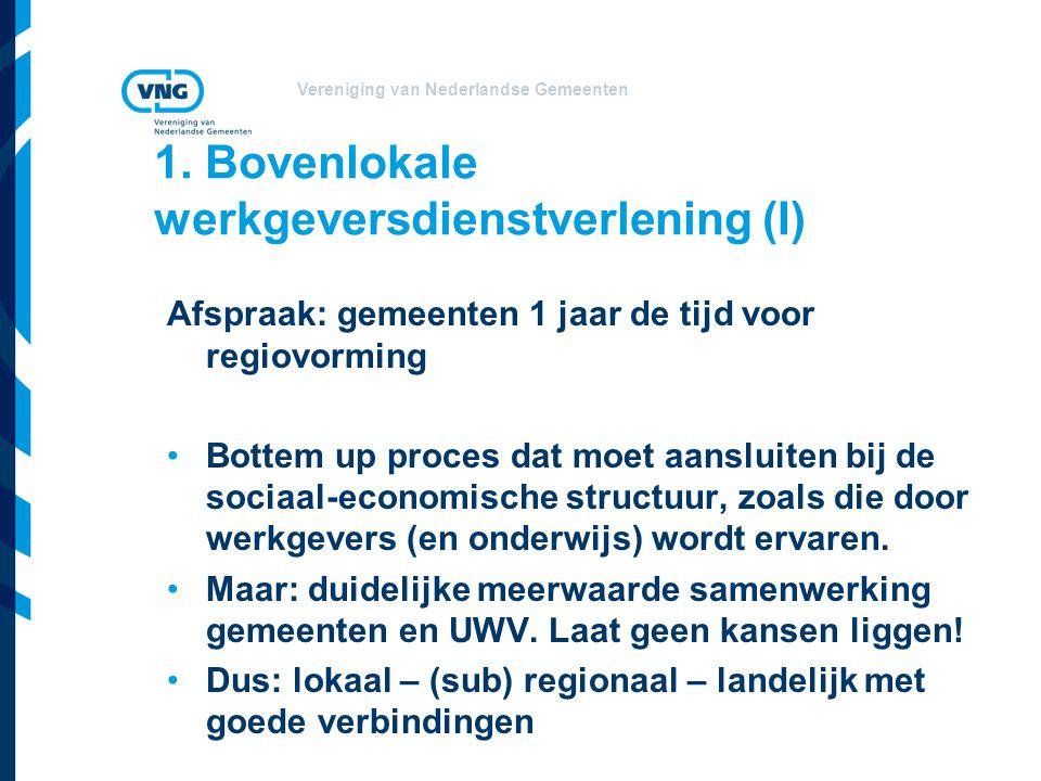 Vereniging van Nederlandse Gemeenten 1. Bovenlokale werkgeversdienstverlening (I) Afspraak: gemeenten 1 jaar de tijd voor regiovorming •Bottem up proc