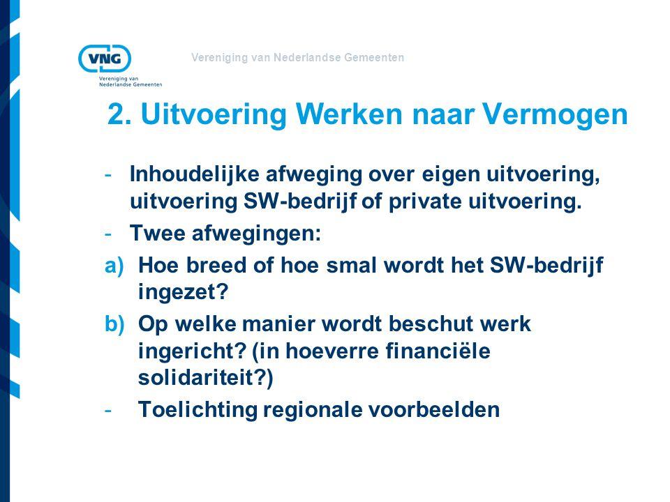 Vereniging van Nederlandse Gemeenten 2. Uitvoering Werken naar Vermogen -Inhoudelijke afweging over eigen uitvoering, uitvoering SW-bedrijf of private