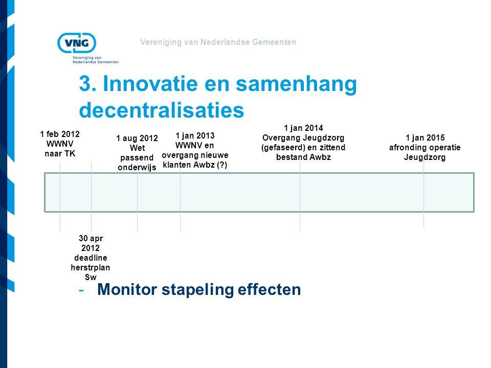 Vereniging van Nederlandse Gemeenten 3. Innovatie en samenhang decentralisaties -Monitor stapeling effecten 1 feb 2012 WWNV naar TK 30 apr 2012 deadli