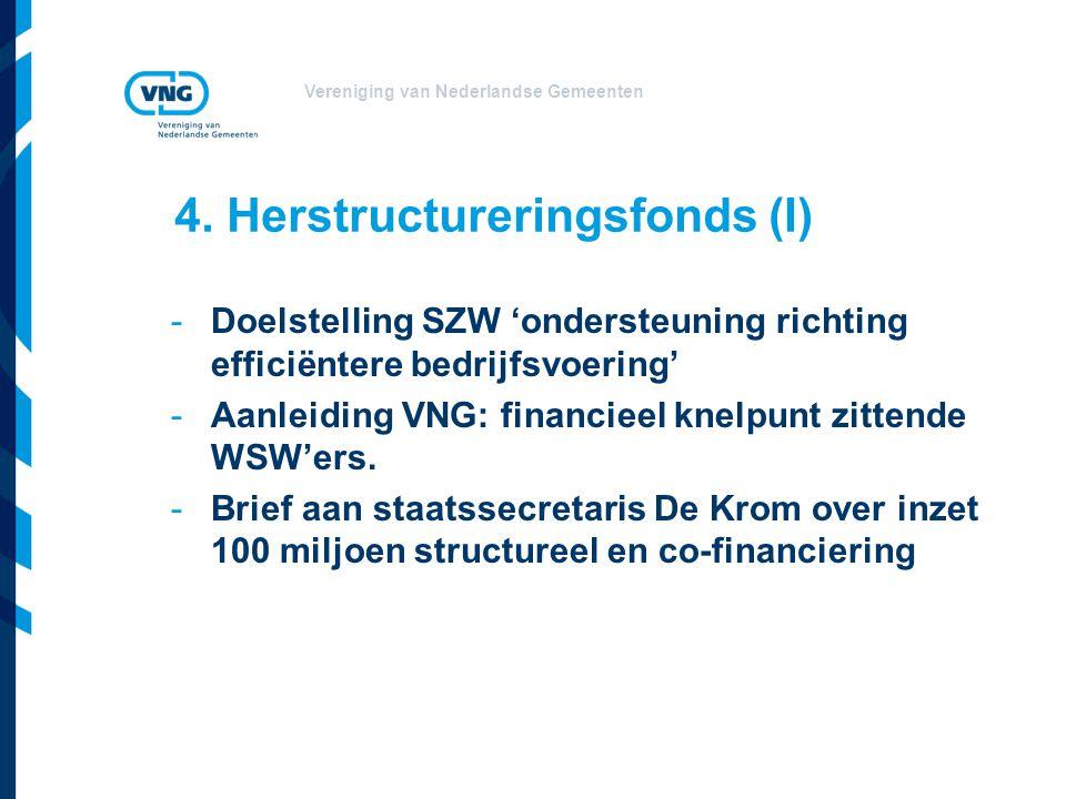 Vereniging van Nederlandse Gemeenten 4. Herstructureringsfonds (I) -Doelstelling SZW 'ondersteuning richting efficiëntere bedrijfsvoering' -Aanleiding