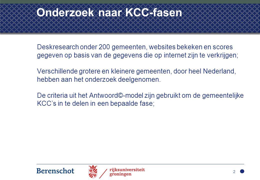 Onderzoek naar KCC-fasen Deskresearch onder 200 gemeenten, websites bekeken en scores gegeven op basis van de gegevens die op internet zijn te verkrij