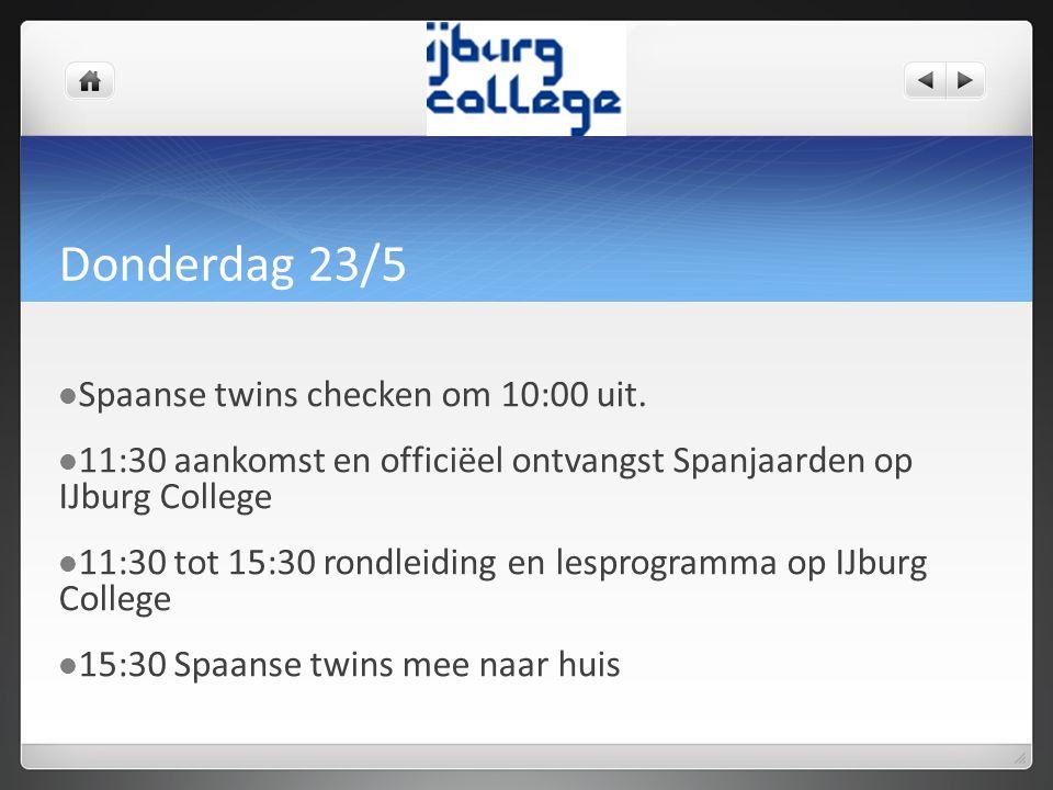 Vrijdag 24/5  Spaanse twin om 08:30 verzamelen op Amsterdam Centraal voor halte tram 26 of om 08:15 op school  Tour door Amsterdam met opdrachten  Bezoek aan Van Gogh museum  Geef jouw twin voldoende eten mee voor deze dag.