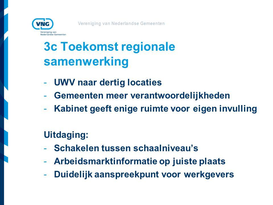 Vereniging van Nederlandse Gemeenten 3c Toekomst regionale samenwerking -UWV naar dertig locaties -Gemeenten meer verantwoordelijkheden -Kabinet geeft enige ruimte voor eigen invulling Uitdaging: -Schakelen tussen schaalniveau's -Arbeidsmarktinformatie op juiste plaats -Duidelijk aanspreekpunt voor werkgevers