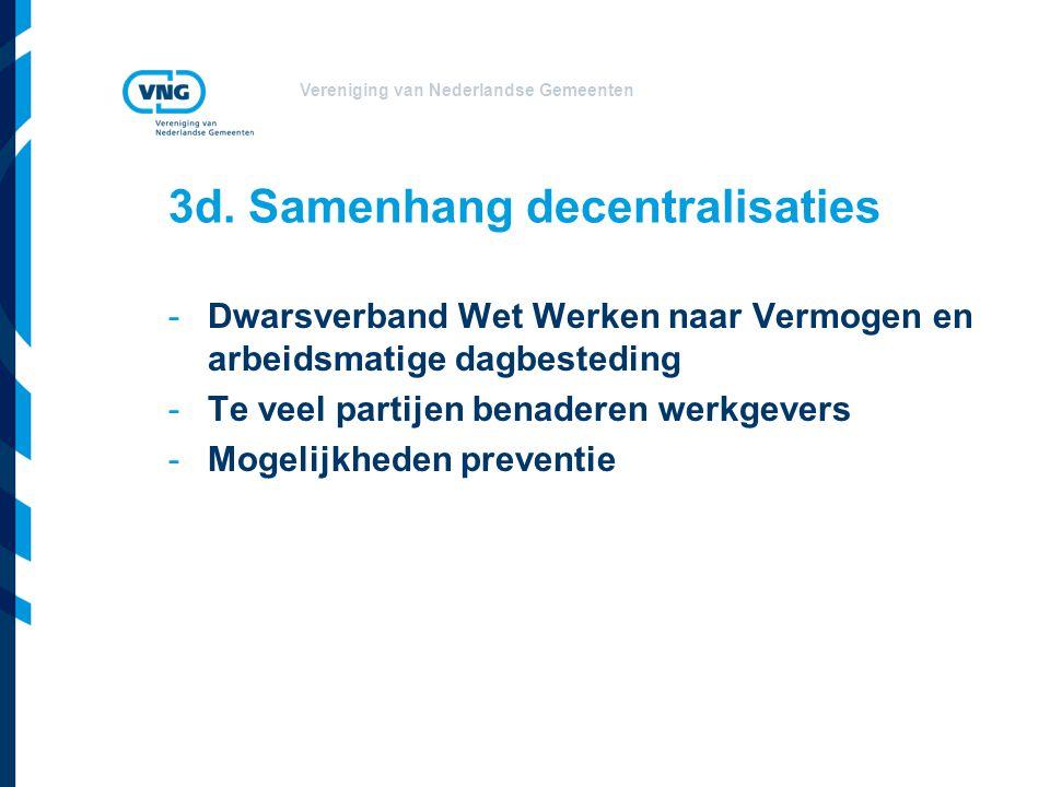 Vereniging van Nederlandse Gemeenten 3d. Samenhang decentralisaties -Dwarsverband Wet Werken naar Vermogen en arbeidsmatige dagbesteding -Te veel part