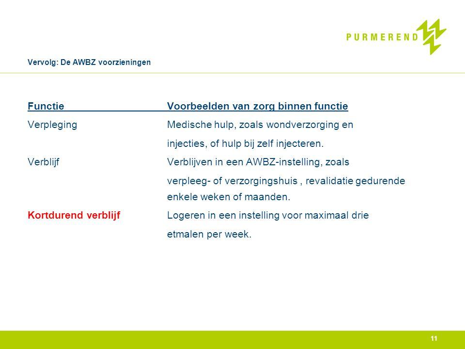 Vervolg: De AWBZ voorzieningen FunctieVoorbeelden van zorg binnen functie VerplegingMedische hulp, zoals wondverzorging en injecties, of hulp bij zelf