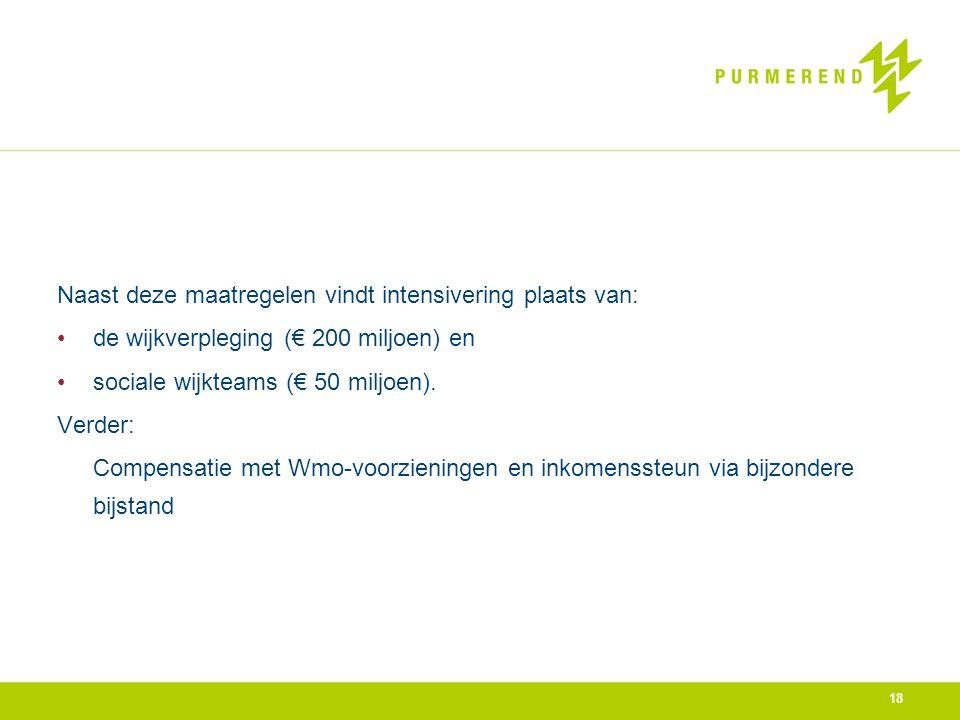 Naast deze maatregelen vindt intensivering plaats van: •de wijkverpleging (€ 200 miljoen) en •sociale wijkteams (€ 50 miljoen). Verder: Compensatie me