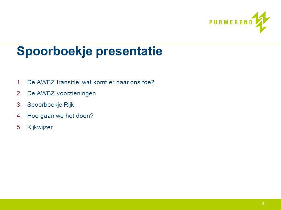 Spoorboekje presentatie 1.De AWBZ transitie: wat komt er naar ons toe? 2.De AWBZ voorzieningen 3.Spoorboekje Rijk 4.Hoe gaan we het doen? 5.Kijkwijzer
