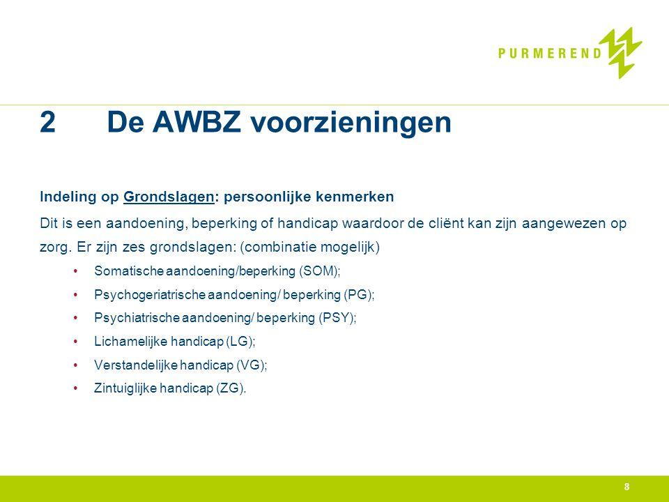 2 De AWBZ voorzieningen Indeling op Grondslagen: persoonlijke kenmerken Dit is een aandoening, beperking of handicap waardoor de cliënt kan zijn aange
