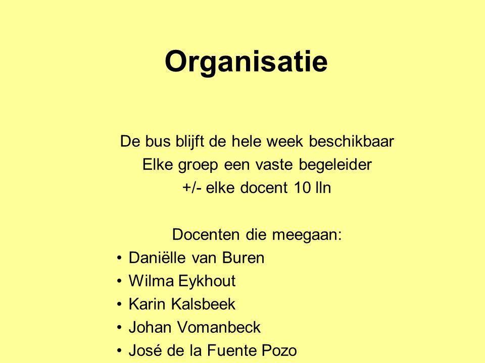Organisatie De bus blijft de hele week beschikbaar Elke groep een vaste begeleider +/- elke docent 10 lln Docenten die meegaan: •Daniëlle van Buren •W