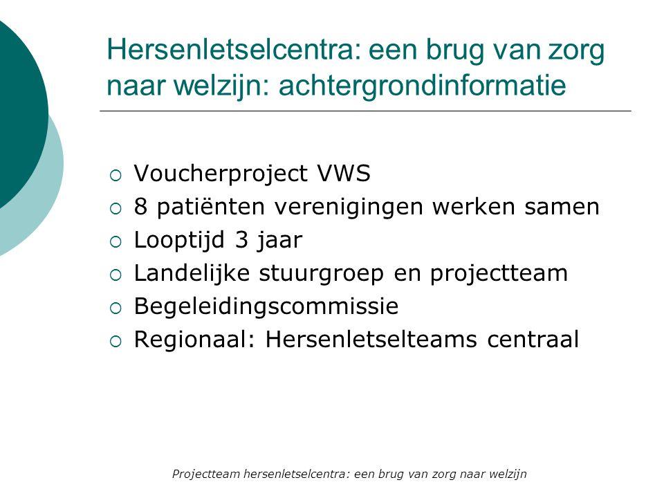 Hersenletselcentra: een brug van zorg naar welzijn: achtergrondinformatie  Voucherproject VWS  8 patiënten verenigingen werken samen  Looptijd 3 ja