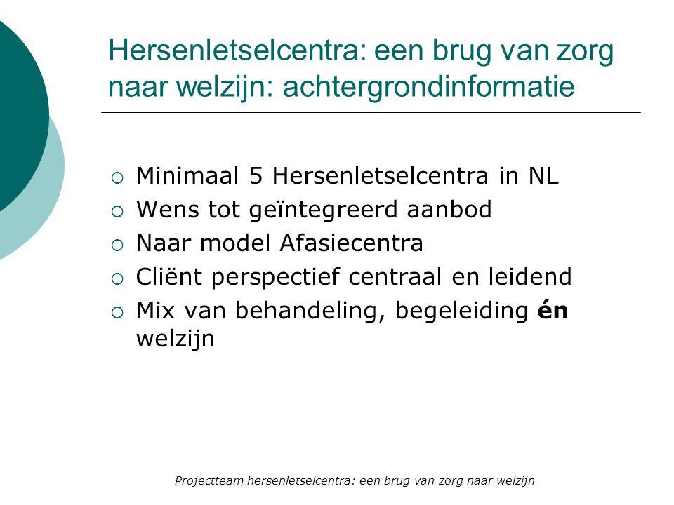 Hersenletselcentra: een brug van zorg naar welzijn: achtergrondinformatie  Minimaal 5 Hersenletselcentra in NL  Wens tot geïntegreerd aanbod  Naar