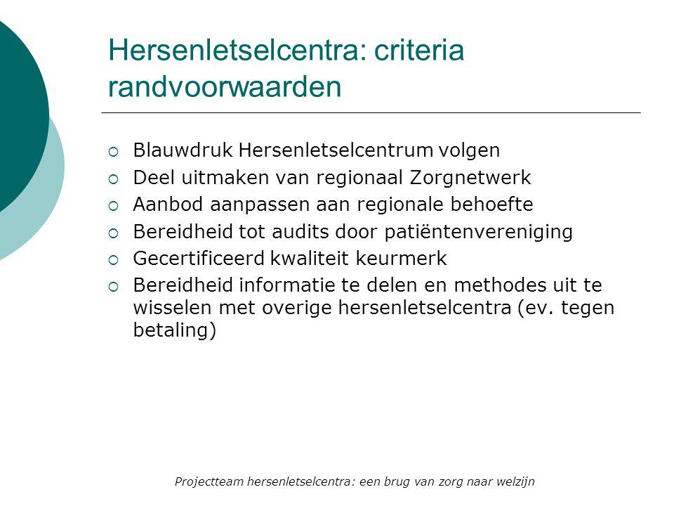 Hersenletselcentra: criteria randvoorwaarden  Blauwdruk Hersenletselcentrum volgen  Deel uitmaken van regionaal Zorgnetwerk  Aanbod aanpassen aan r