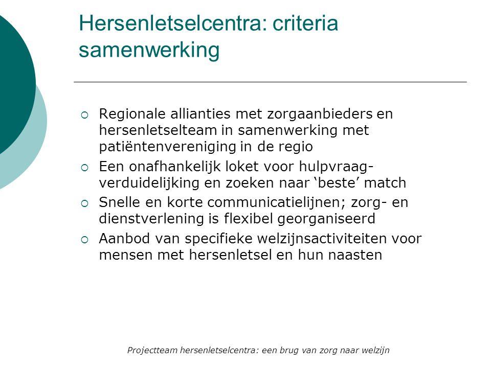 Hersenletselcentra: criteria samenwerking  Regionale allianties met zorgaanbieders en hersenletselteam in samenwerking met patiëntenvereniging in de