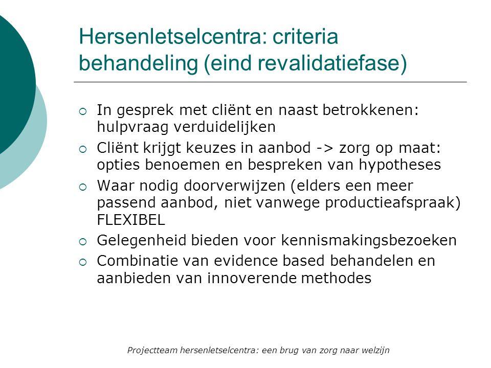 Hersenletselcentra: criteria behandeling (eind revalidatiefase)  In gesprek met cliënt en naast betrokkenen: hulpvraag verduidelijken  Cliënt krijgt