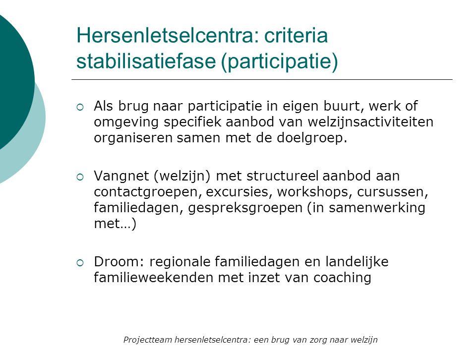 Hersenletselcentra: criteria stabilisatiefase (participatie)  Als brug naar participatie in eigen buurt, werk of omgeving specifiek aanbod van welzij
