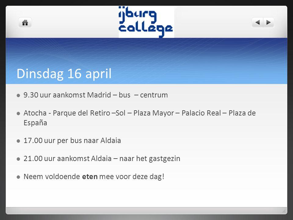 Woensdag 17 april  Ontvangst op de Spaanse school – rondleiding  Presentaties van de Nederlanders.