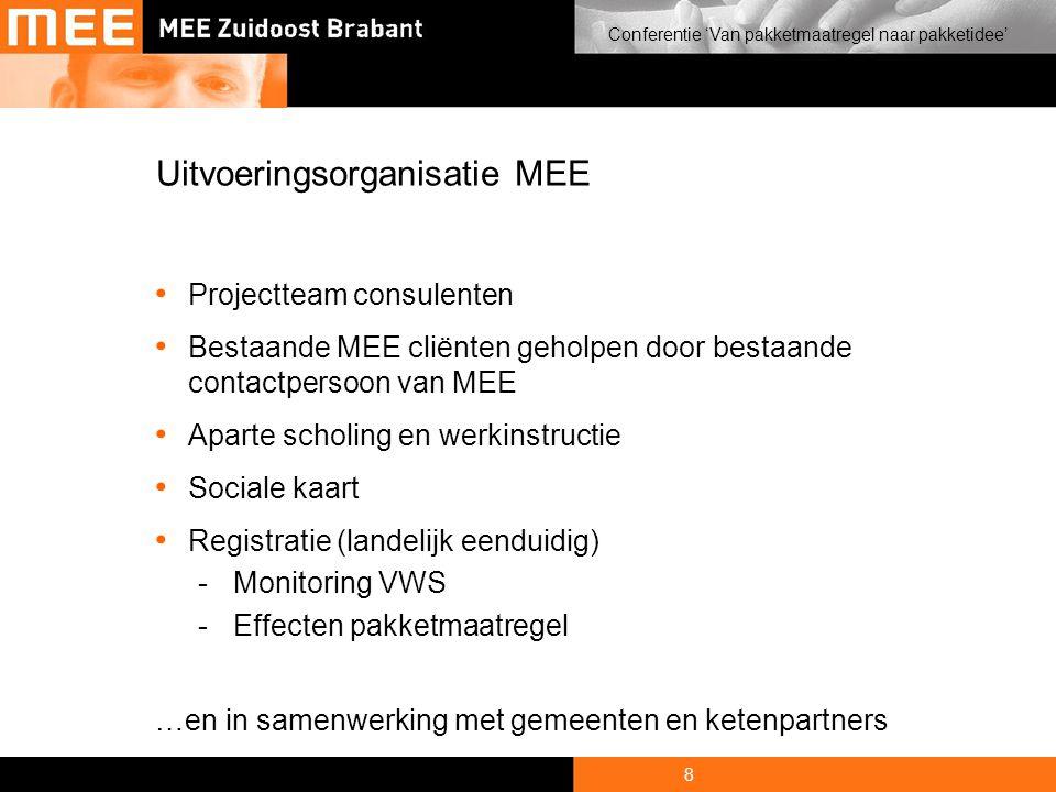 8 Conferentie 'Van pakketmaatregel naar pakketidee' Uitvoeringsorganisatie MEE • Projectteam consulenten • Bestaande MEE cliënten geholpen door bestaande contactpersoon van MEE • Aparte scholing en werkinstructie • Sociale kaart • Registratie (landelijk eenduidig) -Monitoring VWS -Effecten pakketmaatregel …en in samenwerking met gemeenten en ketenpartners