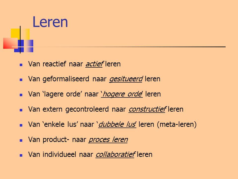 Leren  Van reactief naar actief leren  Van geformaliseerd naar gesitueerd leren  Van 'lagere orde' naar 'hogere orde' leren  Van extern gecontroleerd naar constructief leren  Van 'enkele lus' naar 'dubbele lus' leren (meta-leren)  Van product- naar proces leren  Van individueel naar collaboratief leren