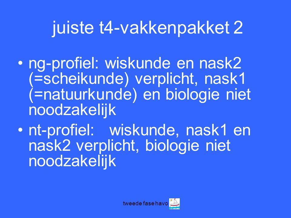 tweede fase havo juiste t4-vakkenpakket 2 •ng-profiel: wiskunde en nask2 (=scheikunde) verplicht, nask1 (=natuurkunde) en biologie niet noodzakelijk •nt-profiel: wiskunde, nask1 en nask2 verplicht, biologie niet noodzakelijk