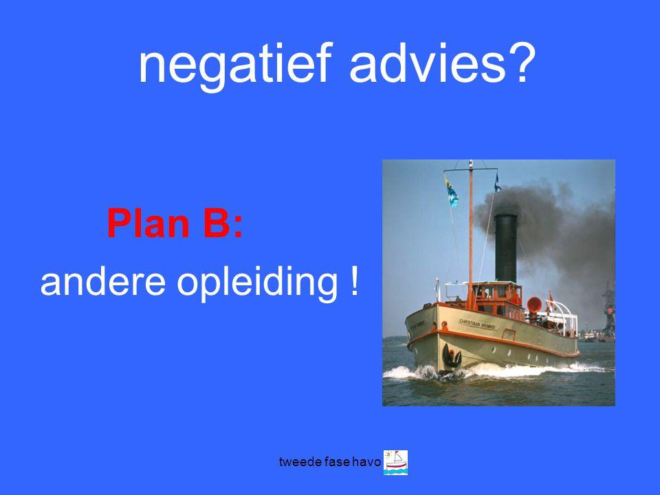 tweede fase havo negatief advies? Plan B: andere opleiding !