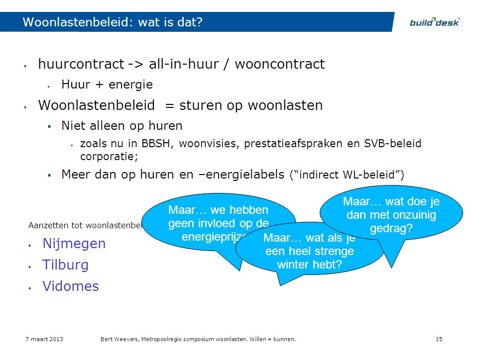 Woonlastenbeleid: wat is dat?  huurcontract -> all-in-huur / wooncontract  Huur + energie  Woonlastenbeleid = sturen op woonlasten  Niet alleen op