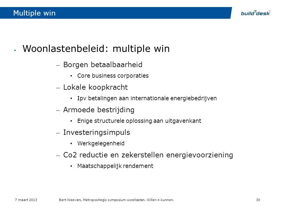 Multiple win  Woonlastenbeleid: multiple win – Borgen betaalbaarheid • Core business corporaties – Lokale koopkracht • Ipv betalingen aan internation