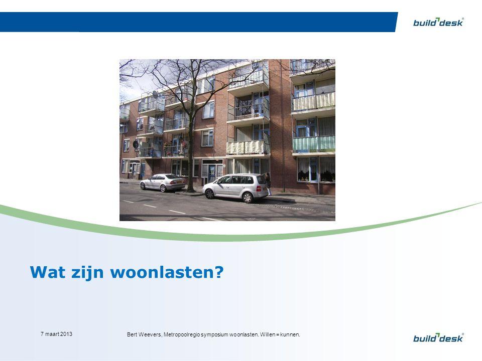 Wat zijn woonlasten? 7 maart 2013 Bert Weevers, Metropoolregio symposium woonlasten. Willen = kunnen.