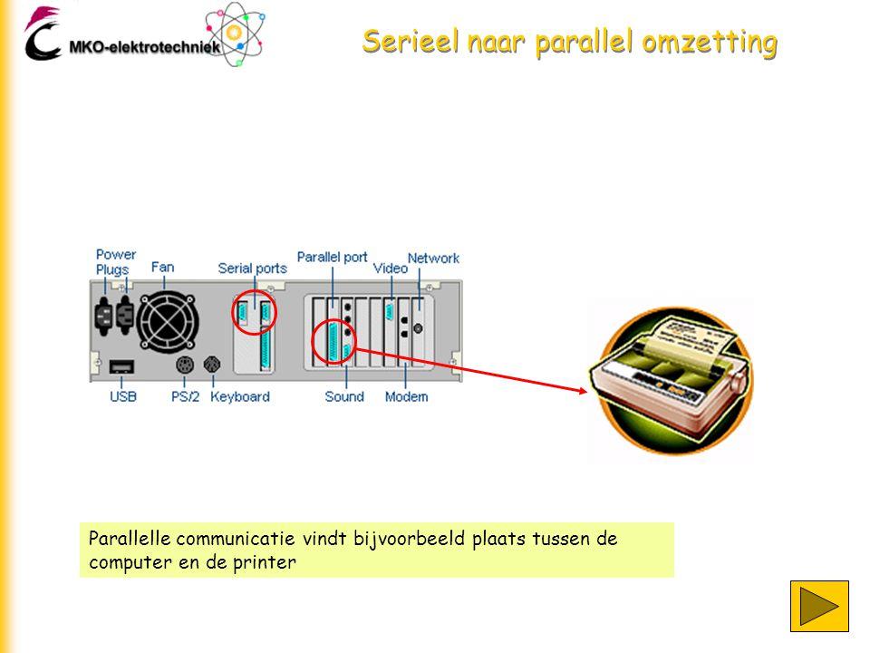 Serieel naar parallel omzetting Bij parallelle communicatie wordt elk bit van een karakter over een apart draadje getransporteerd.