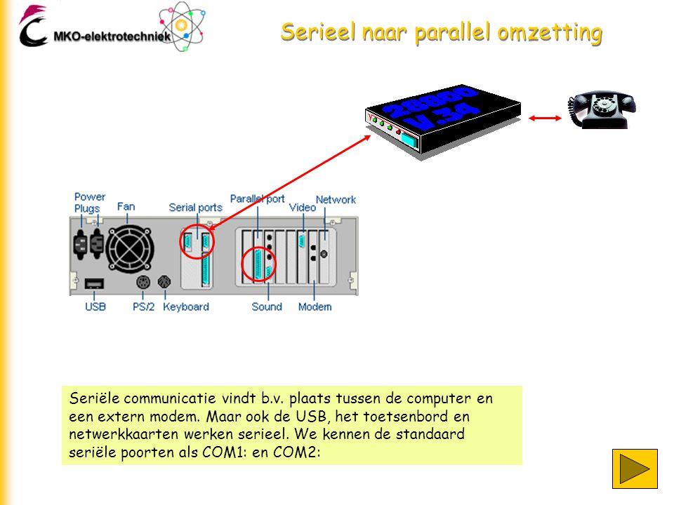 Serieel naar parallel omzetting Seriële communicatie vindt b.v.