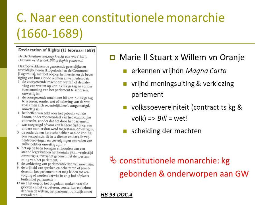 C. Naar een constitutionele monarchie (1660-1689)  Marie II Stuart x Willem vn Oranje  erkennen vrijhdn Magna Carta  vrijhd meningsuiting & verkiez