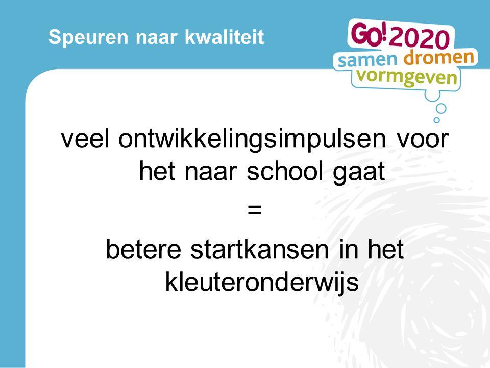 Speuren naar kwaliteit veel ontwikkelingsimpulsen voor het naar school gaat = betere startkansen in het kleuteronderwijs