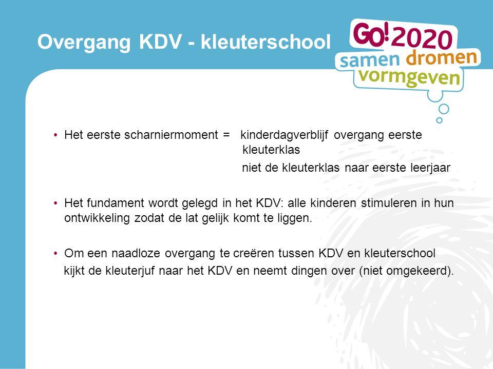 Overgang KDV - kleuterschool • Het eerste scharniermoment = kinderdagverblijf overgang eerste kleuterklas niet de kleuterklas naar eerste leerjaar • H