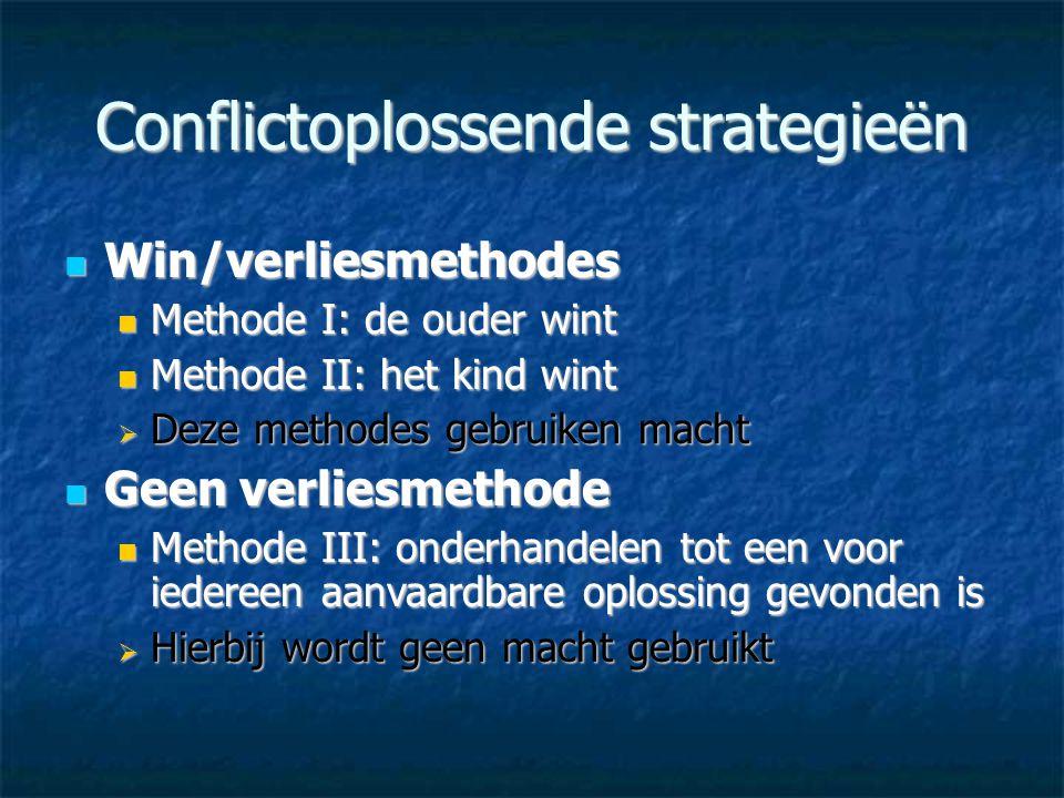 Conflictoplossende strategieën  Win/verliesmethodes  Methode I: de ouder wint  Methode II: het kind wint  Deze methodes gebruiken macht  Geen ver