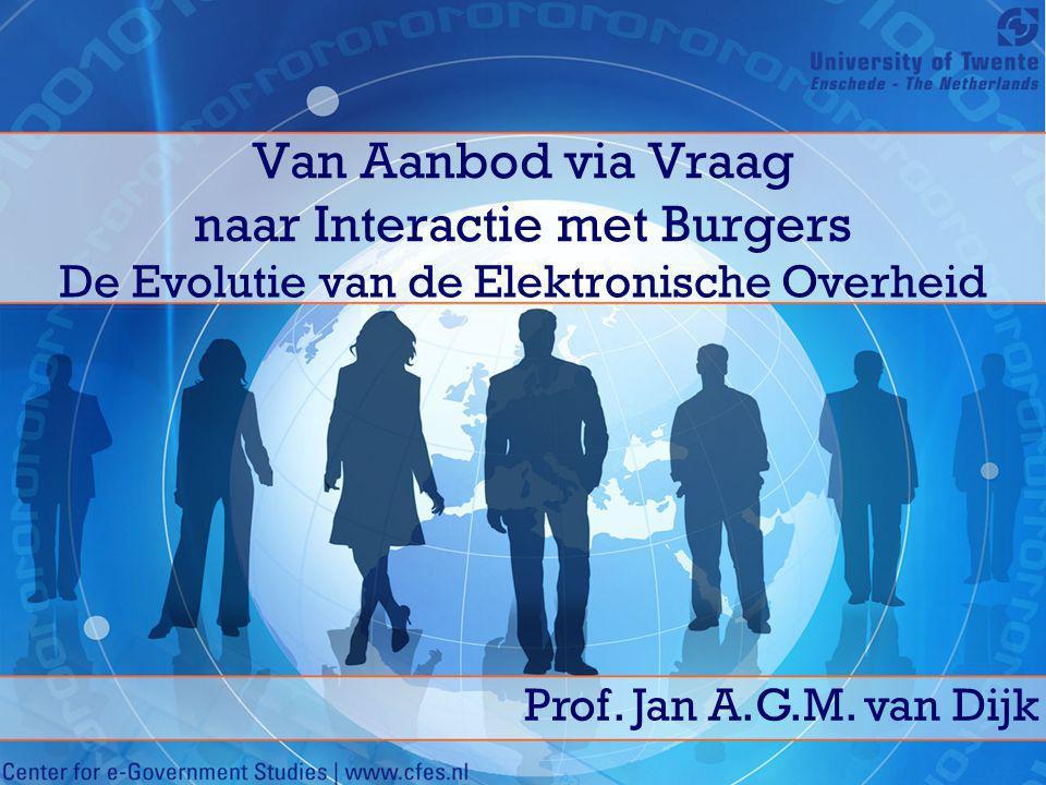 Van Aanbod via Vraag naar Interactie met Burgers De Evolutie van de Elektronische Overheid Prof. Jan A.G.M. van Dijk