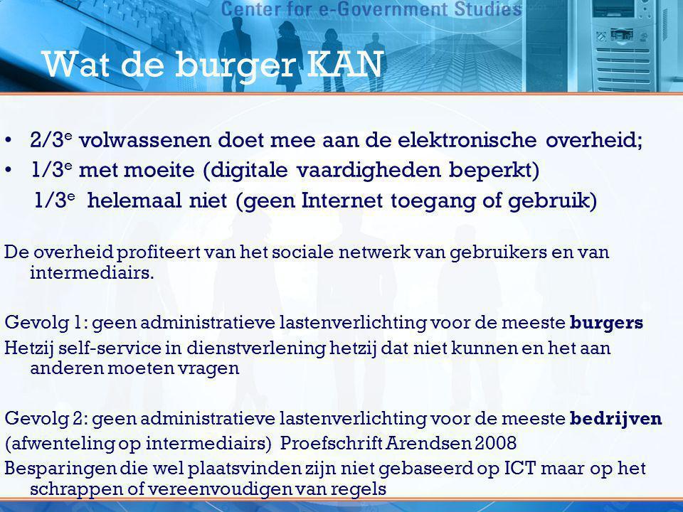 Wat de burger KAN •2/3 e volwassenen doet mee aan de elektronische overheid; •1/3 e met moeite (digitale vaardigheden beperkt) 1/3 e helemaal niet (ge