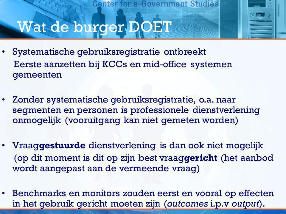 Wat de burger DOET •Systematische gebruiksregistratie ontbreekt Eerste aanzetten bij KCCs en mid-office systemen gemeenten •Zonder systematische gebru