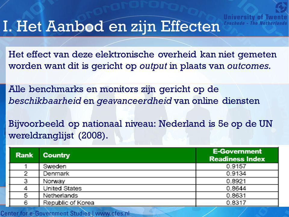 I. Het Aanbod en zijn Effecten Het effect van deze elektronische overheid kan niet gemeten worden want dit is gericht op output in plaats van outcomes