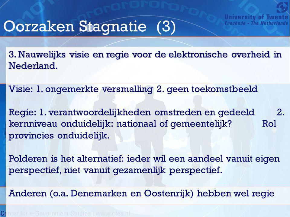 Oorzaken Stagnatie (3) 3. Nauwelijks visie en regie voor de elektronische overheid in Nederland. Visie: 1. ongemerkte versmalling 2. geen toekomstbeel